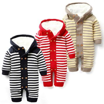 Baby Romper Thick Fleece Warm Cardigan for Winter Kids Knitted Sweater Infant's Climbing Clothes Hooded Girl Boys Outwear