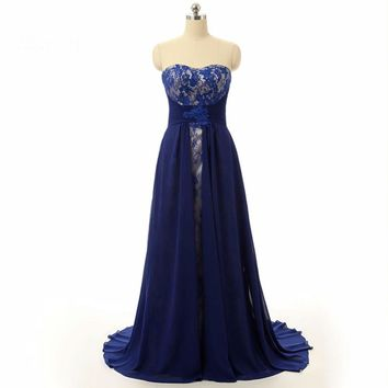 Mother Of The Bride Dresses Design Navy Blue Lace Chiffon Evening Dress Party Formal Gowns