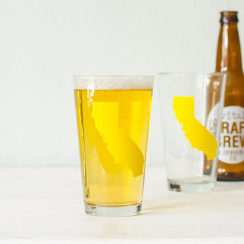 California pint glass - set of 2 SCREEN PRINTED pint glasses - yellow silhouette