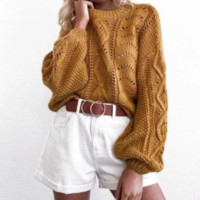 Sweater female autumn and winter new retro loose knitted sweater