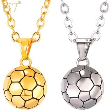 U7 Stainless Steel Football Pattern Pendant & Link Chain Necklace For Men/Women Sport Boy Soccer Fan Hip Hop Jewelry P1095