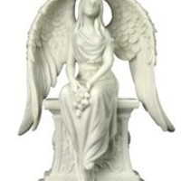 Religious Statue | Weeping Angel Kneeling Statue (Marble White)