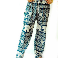 Elephant Asia Long Pants - yoga pants boho harem pants  design one size fits elastic waist ankle green for unisex