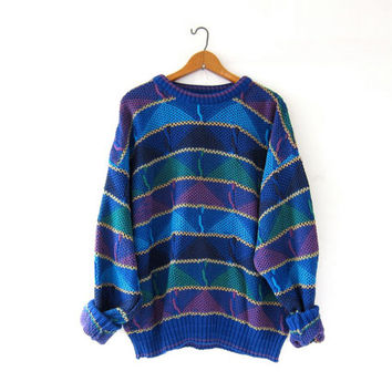 Vintage 80s abstract sweater. Bill Cosby sweater. Oversized sweater. Loose knit boyfriend sweater.