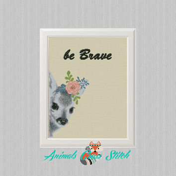 baby Deer flower Cross Stitch pattern pdf Watercolor, be Brave, Forest Woodland Animals, Modern Cross Stitch, deer silhouette