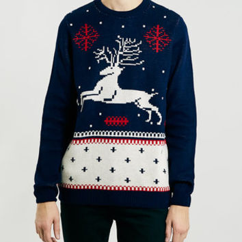 NAVY REINDEER CHRISTMAS SWEATER - Men's Cardigans & Sweaters - Clothing
