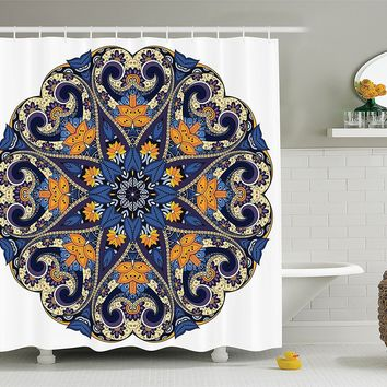 Navy Yellow Bohemian Mandala Fabric Shower Curtain