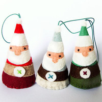 Set of 3 Christmas ornaments, felt Santa Claus decoration, Christmas home decor, Christmas Tree ornaments, door hanger, made to order
