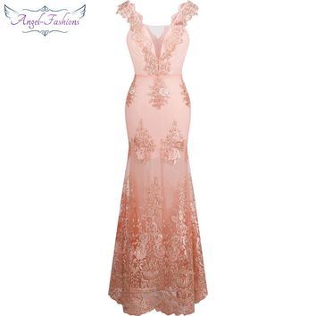Angel-fashions Women's V Neck Embroidery Lace Flower Mermaid Long Evening Dress Pink 310+