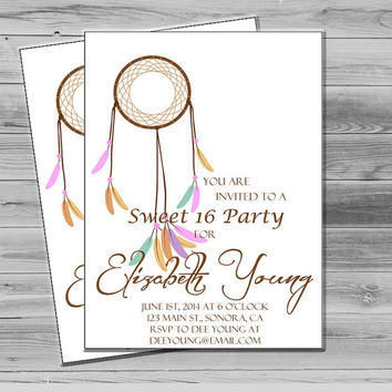 Shabby Chic Sweet 16 Party Invitation, Sweet 16 Invites, Boho Dream Catcher Birthday Invitation, Printable Invitation, Custom Invitation