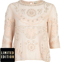 Light pink embellished 3/4 sleeve top - t-shirts - tops - women