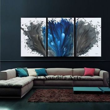Oil Painting Blue Gray Modern ABSTRACT ART on Canvas, Large Wall Art Ocean look Original Artwork Home Decor ground Shipping by Nandita