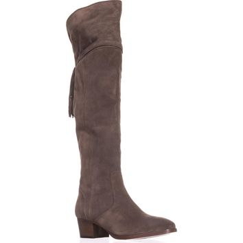 FRYE Clara Back Tassel Over The Knee Slouch Boots, Elephant, 9.5 US