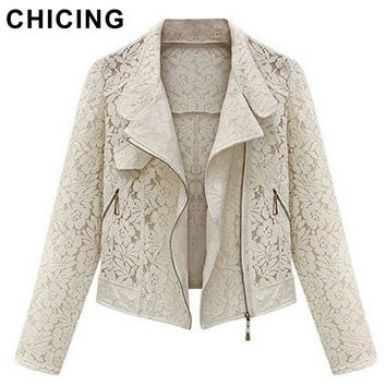 Long Sleeves Hollow Lace New Summer Autumn Fashion Beige Black Crop Casual Jacket Outerwear