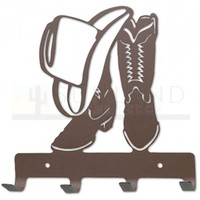 7in. Metal Wall Hooks - Cowboy Boots and Hat - Rust