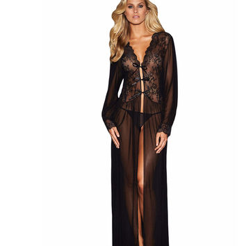 New 2016 Summer Women Vintage Dresses Sexy Clubwear Sheer Long Sleeve Lace Robe with Thong  LC31037