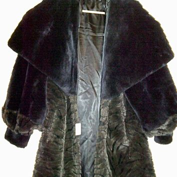 Vintage Faux Mink Coat with Hugh Hooded Collar - Exquisite!