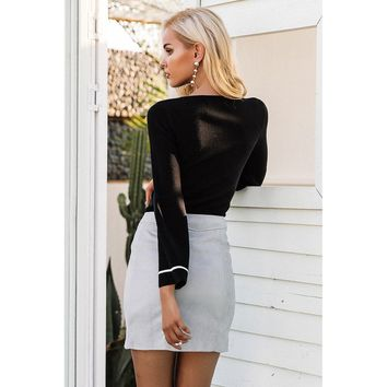 Black Above Knee Leather Pencil Skirt