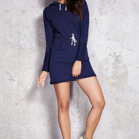 Navy dark blue cotton mini dress / long sleeves / woman / knitted / casual / basic style / christmas gift / fit wear / cotton dress / hoodie