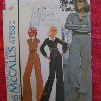 Sale 1970's McCall's Sewing Pattern, 4753! Size 9, 32 1/2-25-34 1/2, women's, misses, teens, juniors,  jumpsuit,