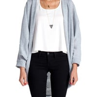 Triple Pleat Knitted Cardigan - Pale Blue