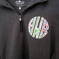 Sweatshirt Quarter Zip Monogram Font Shown INTERLOCKING