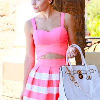 SHE'S GOT IT ALL DRESS IN NEON CORAL