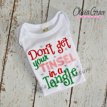 Tinsel in a Tangle, Funny Christmas Embroidered Bodysuit or Shirt, 1st Christmas, Boys or Girls