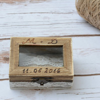 Rustic ring box wedding Ring Holder Burlap Ring Bearer Pillow Lace Box RIngs boxes Shabby Chic Wedding  ring pillow