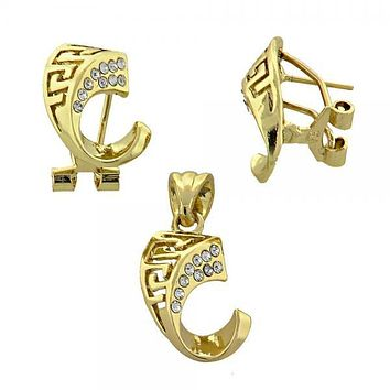 Gold Layered 10.59.0159 Earring and Pendant Adult Set, Greek Key Design, with White Crystal, Polished Finish, Gold Tone