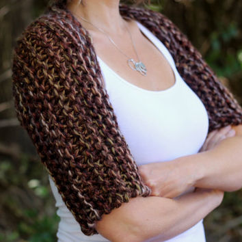 Outlander Inspired Claire's Brown Shrug, Chunky Knit, Shoulder Shrug Made to Order