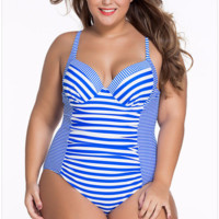 Beautiful Stripe One-Piece Plus Size Monokini Swimsuit