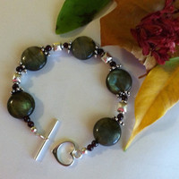 Labradorite and Garnet Bracelet Handmade Blue Green Maroon Sterling Silver Unique Beaded Bracelet Semi Precious Gemstone Christmas Jewelry