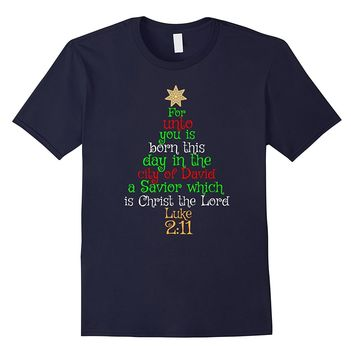 UNTO YOU IS BORN A SAVIOR Christmas T-Shirt Bible Verse Tee