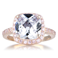 Marina's Rose Gold Cushion Cut Engagement Ring with Pink CZs