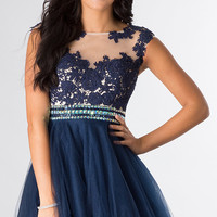 Short Sleeveless Prom Dress by Dave and Johnny 10425