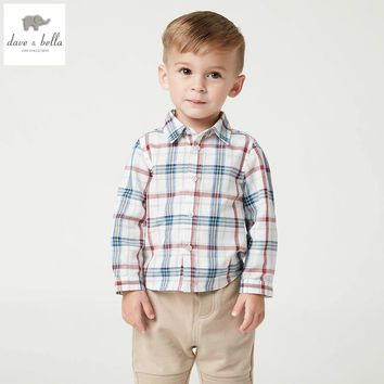 DB4944 dave bella spring autumn baby boys shirt  cotton tops baby red plaid  clothes infant denim shirt toddle shirt boys tops