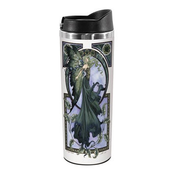 Tree-Free Greetings TT01572 Amy Brown Fantasy 18-8 Double Wall Stainless Artful Tumbler, 14-Ounce, Green Faerie