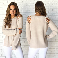 In Style Knit Sweater In Mocha
