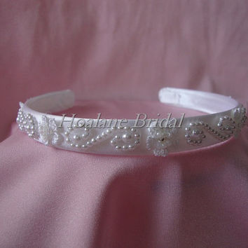 headband, pearl headband, flower girl headband