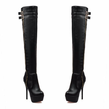 PU Leather Women Over The Knee Boots