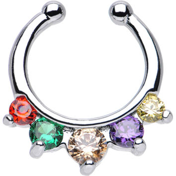 Five Multiple Cubic Zirconia Non-Pierced Clip On Septum Ring | Body Candy Body Jewelry