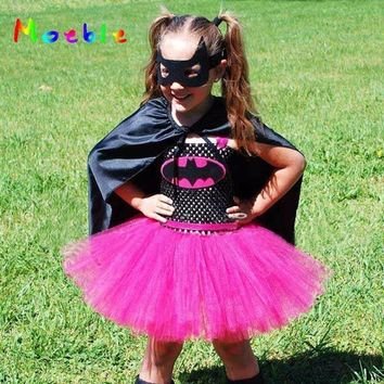 Batman Dark Knight gift Christmas Hot Pink Batman Kids Tutu Dress Girl Dresses Superhero Baby Clothes Cosplay Costume For Christmas Easter Children Party Dress AT_71_6
