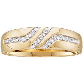 10kt Yellow Gold Mens Round Channel-set Diamond Triple Row Wedding Band Ring 1/8 Cttw