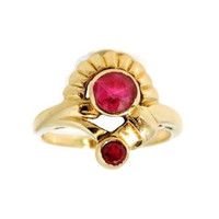 Ruby Etruscan Revival Ring 10k Gold Vintage