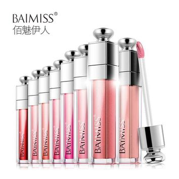 PEAPGB2 BAIMISS Waterproof Lip Glaze Balm Liquid Tint Color Lasting Protection Lipstick Makeup Cosmetics Beauty Essentials 8 Color