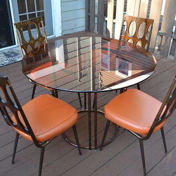 Vintage Chromcraft Orange & Topaz 4-Seat Dining Table - 1960s Mod - LOCAL PICKUP ONLY