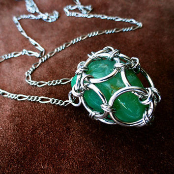 Chrysoprase Chainmail Cage Long Necklace by littlemetalmerchant