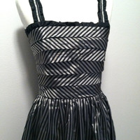 1960s Holiday Dress / Striped Metallics / Strappy Silver and Black Party Dress