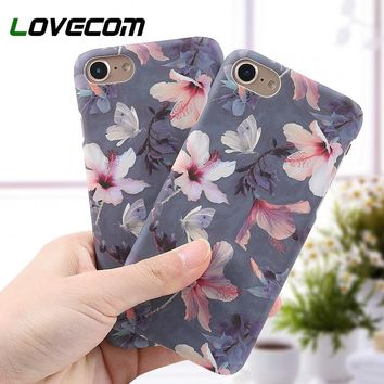 LOVECOM Phone Case For iPhone 5 5S SE 6 6S 7 8 Plus X XS XR XS Max Retro Floral Peach Blossom Flower Hard Phone Back Cover Cases